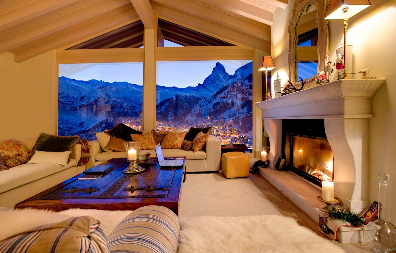 Photo wallpaper landscape, mountains, house, rocks, fire, Windows, the evening, pillow, candles, Switzerland, mirror, house, fireplace, town, …