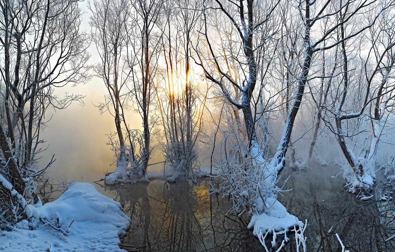 Photo wallpaper autumn, snow, fog, lake
