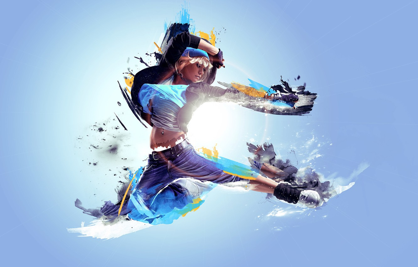 Photo wallpaper lights, abstract, white, black, flying, woman, yellow, blue, model, blur, blonde, dancing, athletic, parkour
