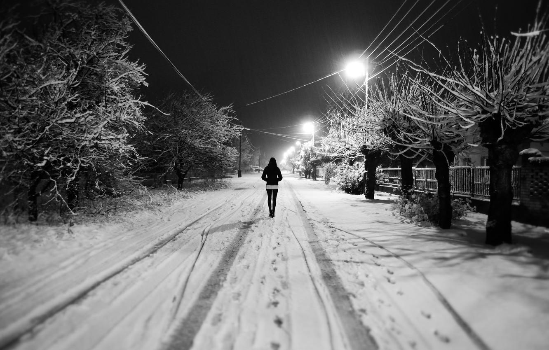 Photo wallpaper winter, white, girl, snow, trees, Street, lights