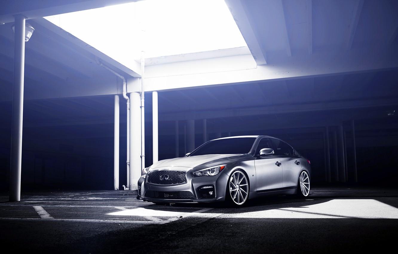 Photo wallpaper Infiniti, silver, infiniti, vossen wheels, frontside, Q50S