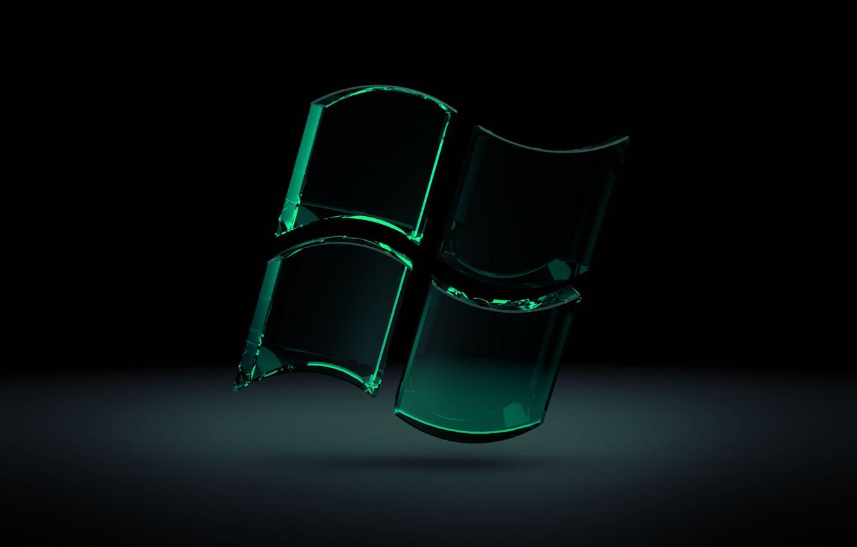 Wallpaper Glass Microsoft Black Windows 7 Green Seven