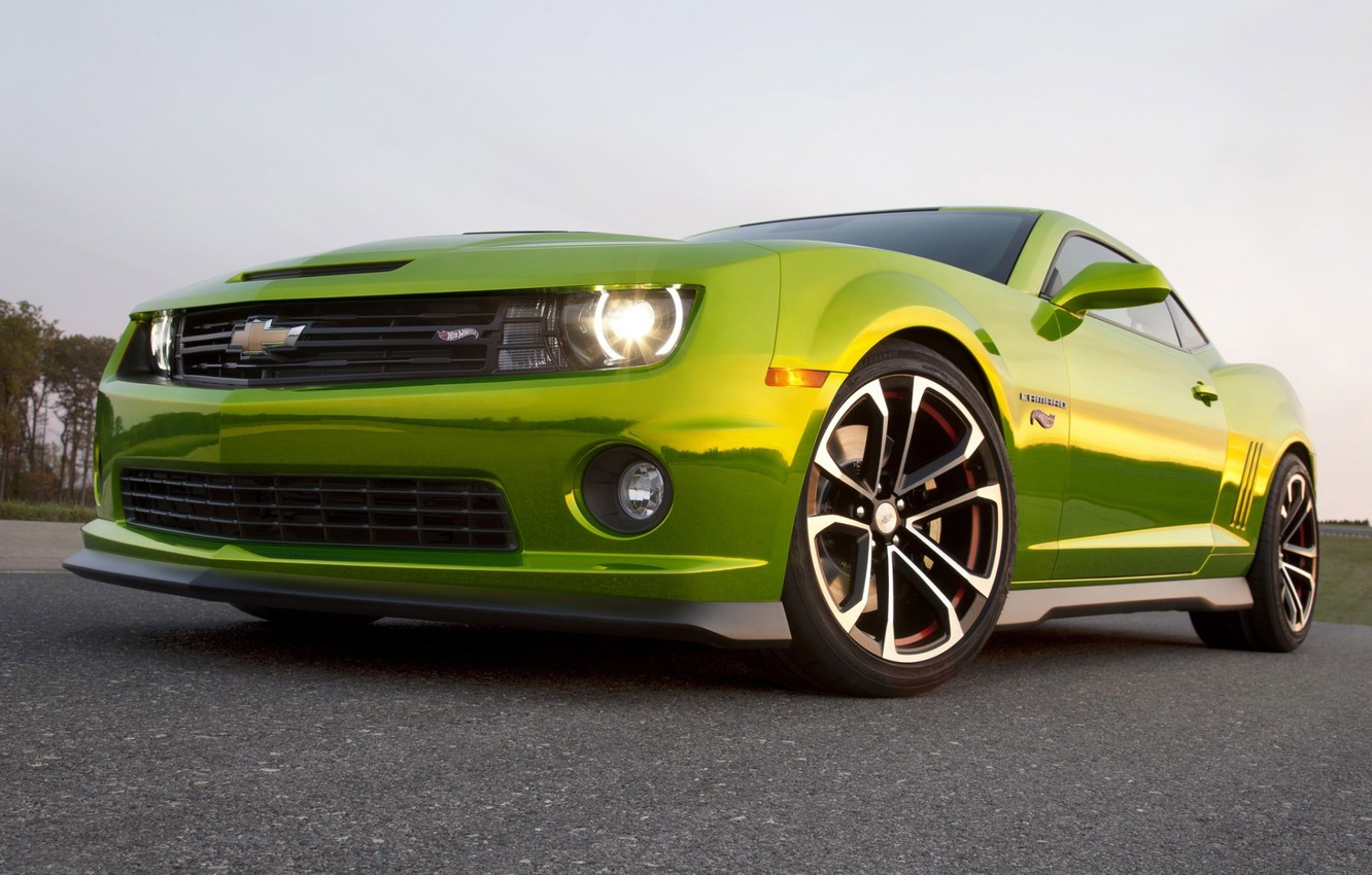 Photo wallpaper the sky, tuning, concept, the concept, green, Chevrolet, muscle car, camaro, chevrolet, tuning, the front, …