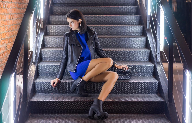 Photo wallpaper girl, jacket, steps, legs, sitting