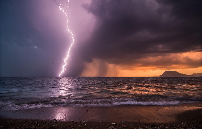 Photo wallpaper sea, the sky, storm, shore, lightning, the evening