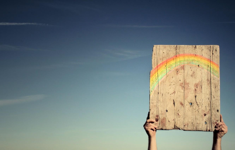 Photo wallpaper the sky, rainbow, hands