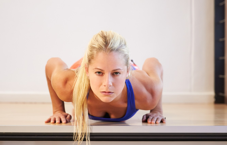 Photo wallpaper blonde, fitness, pushups