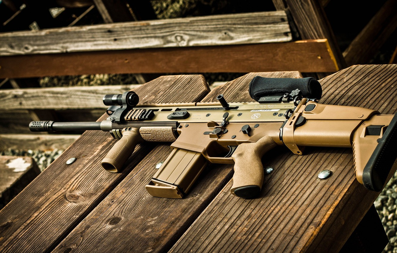 Photo wallpaper weapons, tree, machine, optics, lies, foregrip, FN SCAR 17S