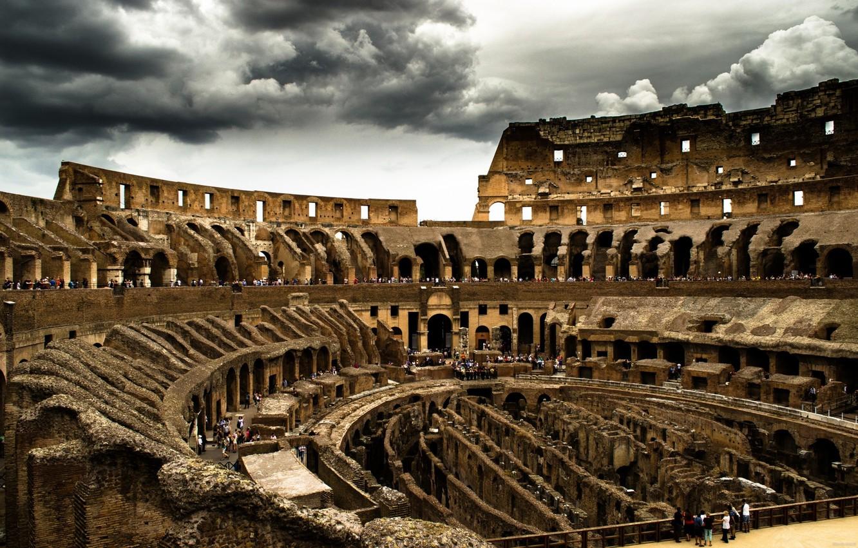Photo wallpaper clouds, Colosseum, Rome