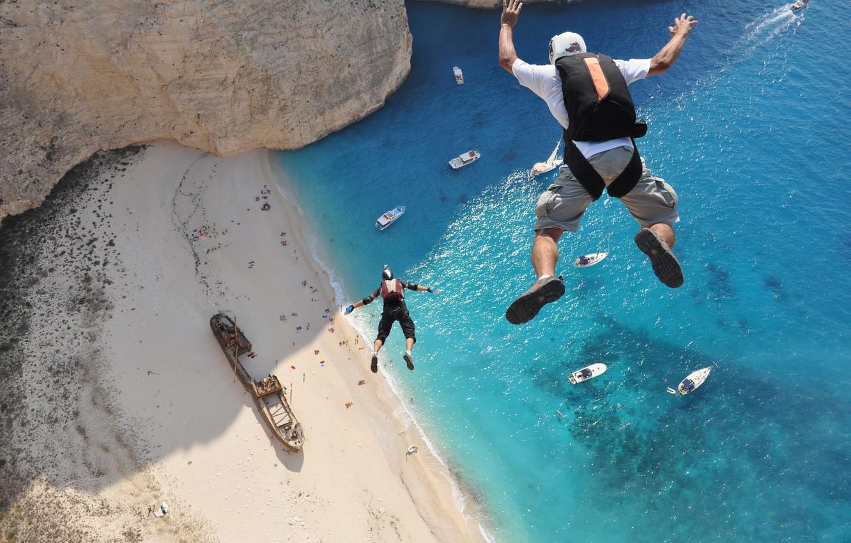 Photo wallpaper Water, Sand, Sea, Beach, Greece, Laguna, Sport, Yachts, Rock, Summer, View, Flight, Ship, Wallpaper, Ships, …