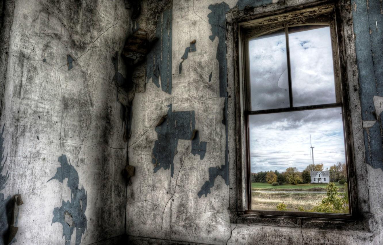 Photo wallpaper room, view, window