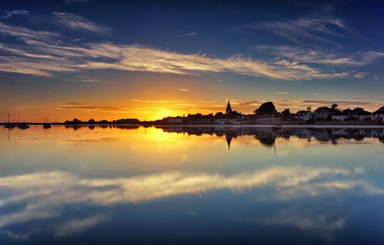 Photo wallpaper water, sunset, reflection, England, England, West Sussex, West Sussex, Bosch, Chichester Harbour, Chichester Harbour, Bosham