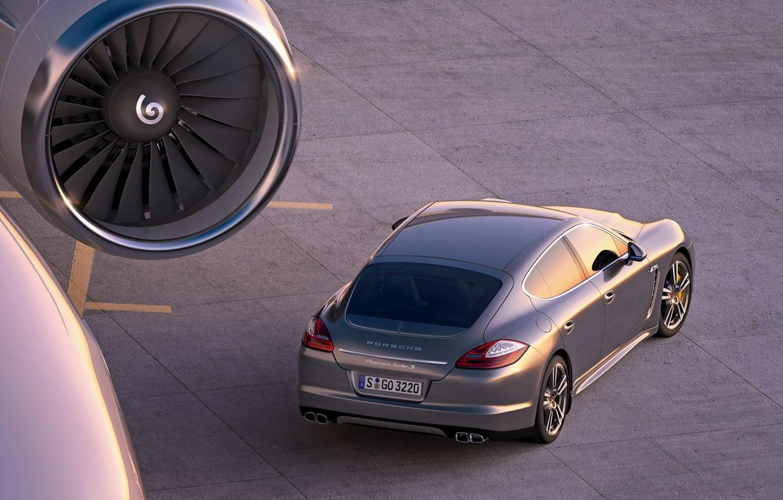 Photo wallpaper asphalt, the plane, engine, Panamera, 2011, Turbo, porche