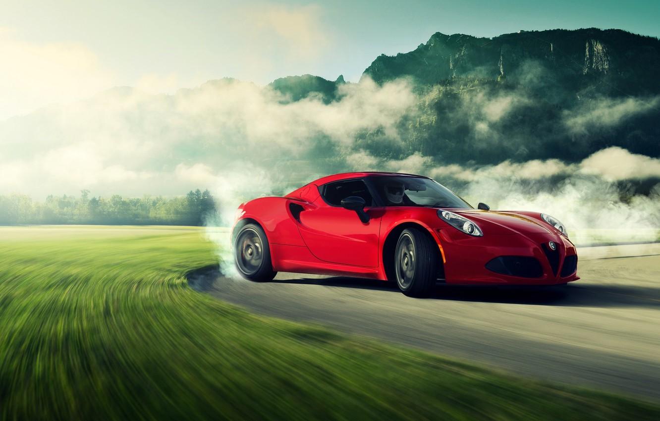 Photo wallpaper Alfa Romeo, Red, Car, Miami, Sport, Drifting