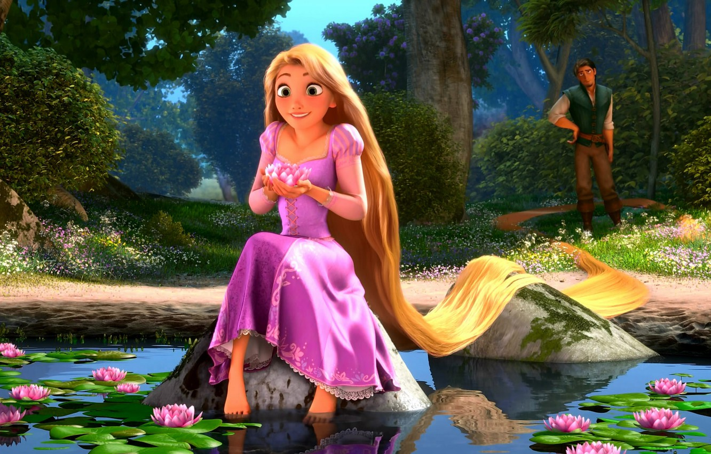 Photo wallpaper Rapunzel, water lilies, Rapunzel: a tangled tale
