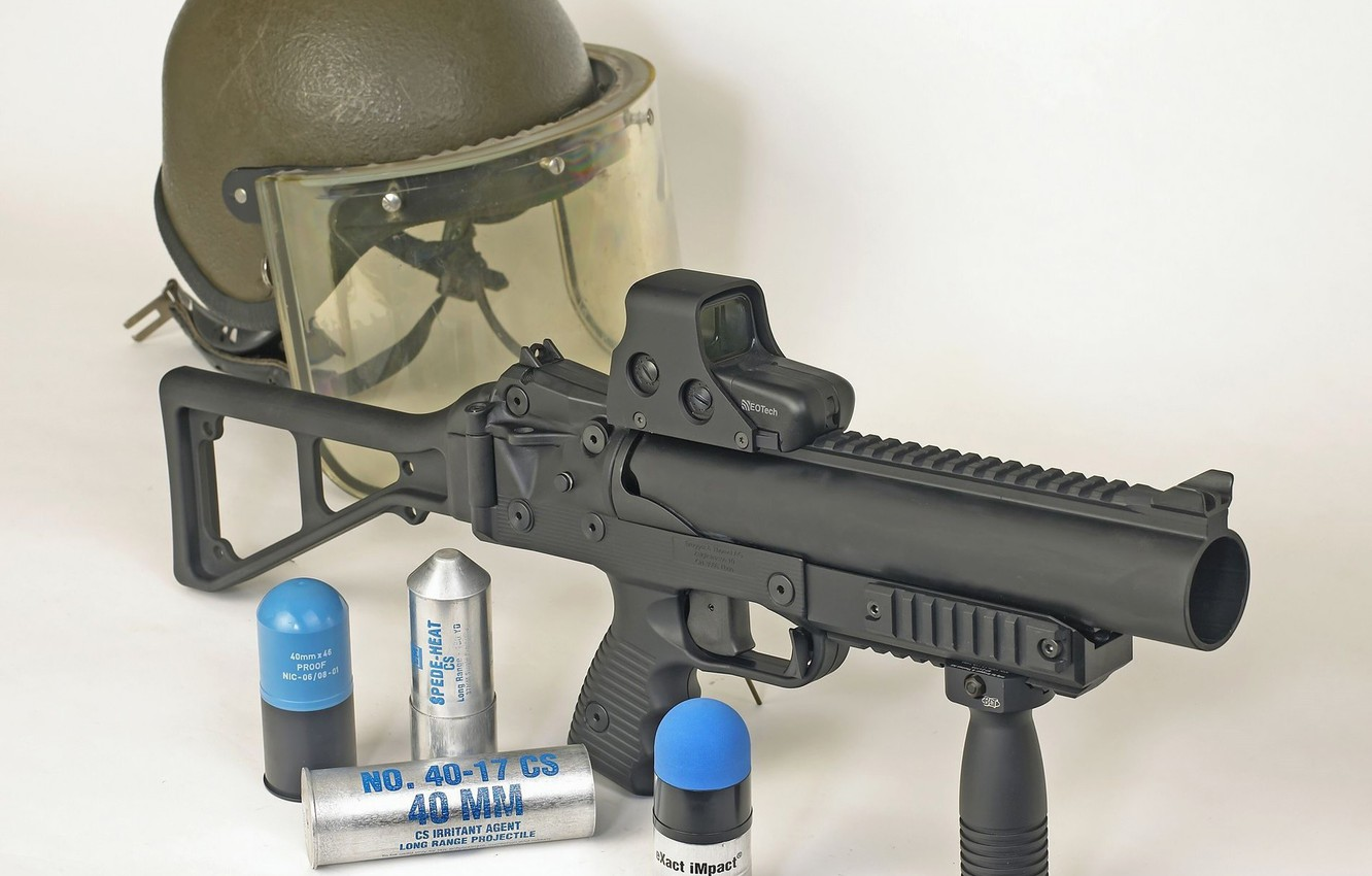 Photo wallpaper gun, weapon, police, EOTech, pearls, ammunition, grenade, 40mm, dissuasion weapon, B&T GL06, against law and …