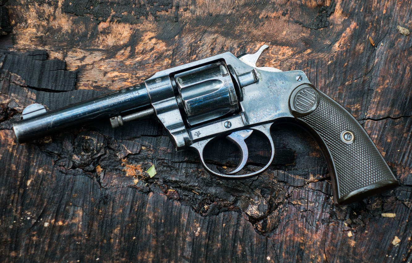 Photo wallpaper weapons, background, trunk, revolver, Colt