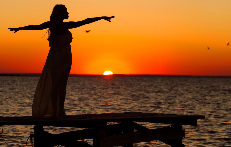 Photo wallpaper sea, the sky, girl, sunset, seagulls, silhouette