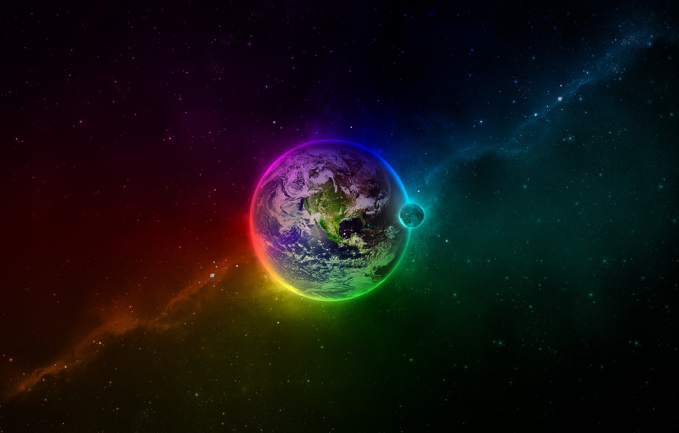 Photo wallpaper color, space, earth, the moon, planet, stars, abyss