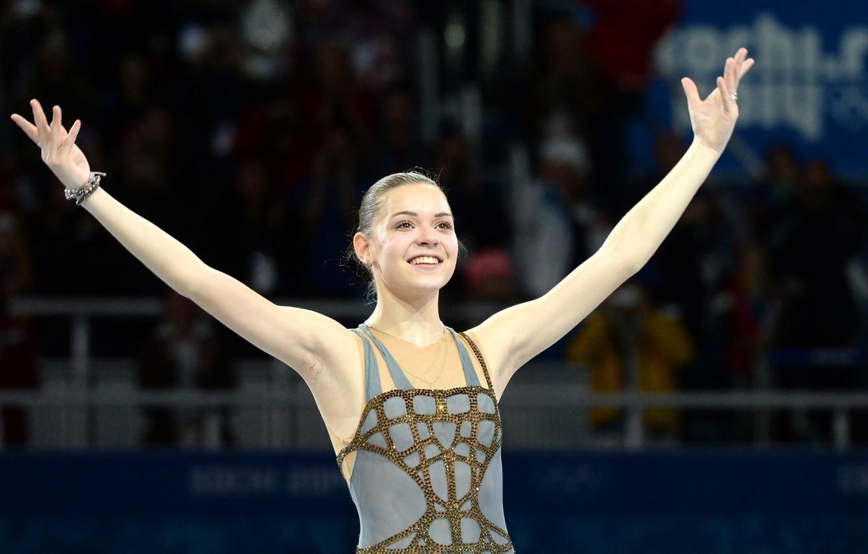 Photo wallpaper joy, smile, gold, victory, figure skating, Russia, RUSSIA, Olympic champion, Sochi 2014, The XXII Winter …