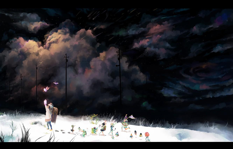 Photo wallpaper snow, night, stars, anime, girl, friends, Starfall. winter, flashlight. birds