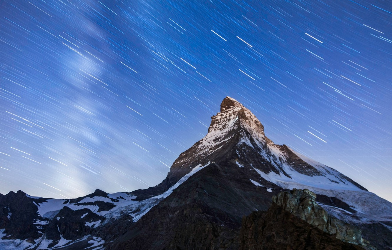 Photo wallpaper the sky, stars, mountains, night, mountain, top, Matterhorn