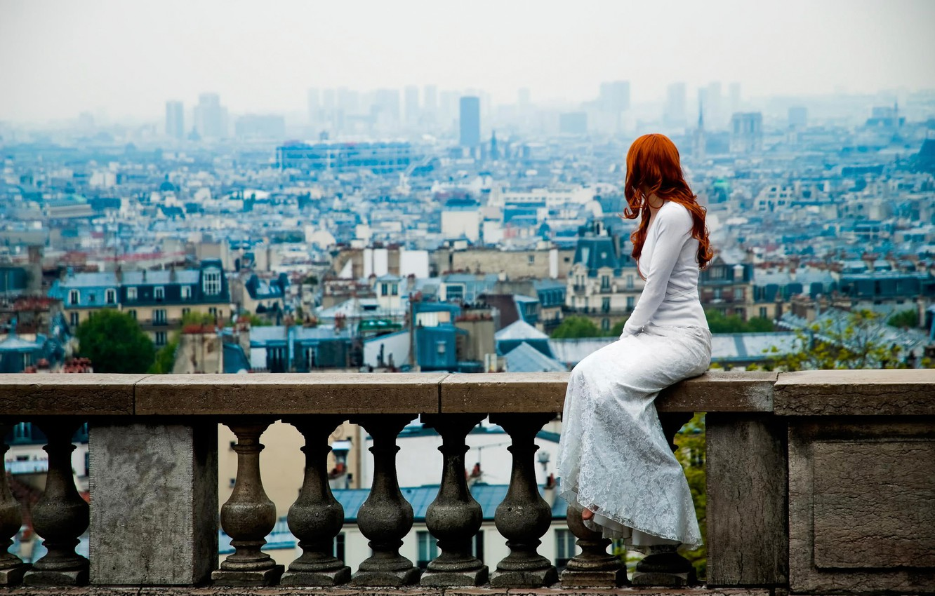 Photo wallpaper Paris, view, dress, the red-haired girl