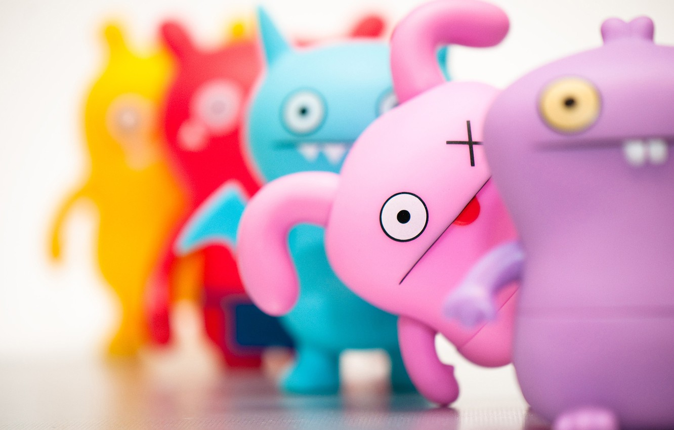Photo wallpaper purple, yellow, red, pink, blue, toys, look