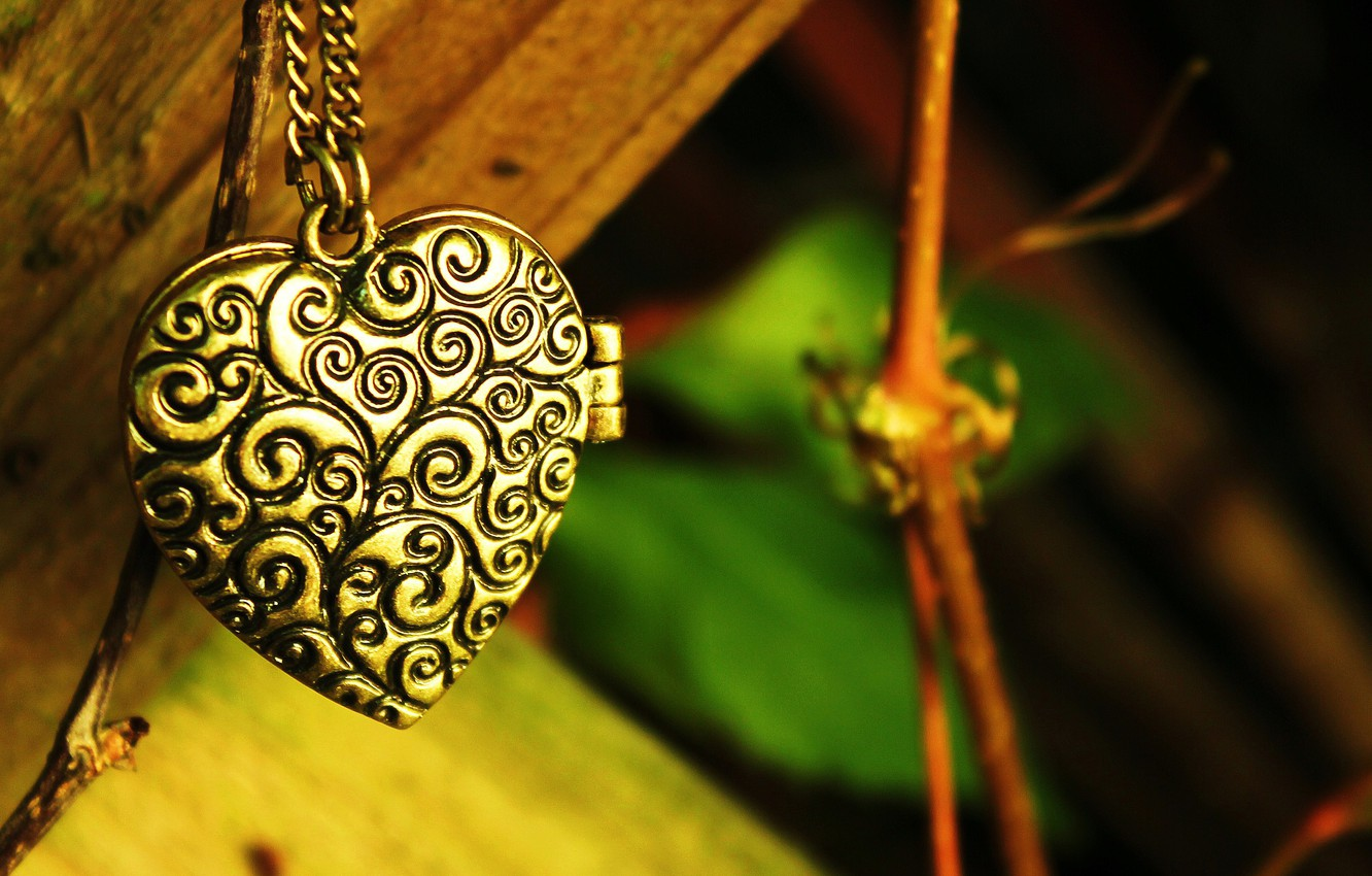 Photo wallpaper greens, leaves, patterns, heart, branch, pendant, chain, heart, suspension
