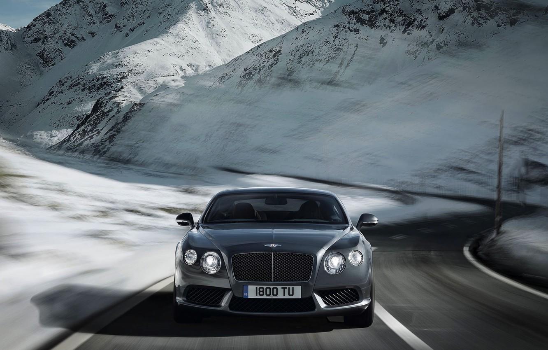 Photo wallpaper Winter, Bentley, Continental, Road, Snow, Machine, Grey, Silver, The front, Range