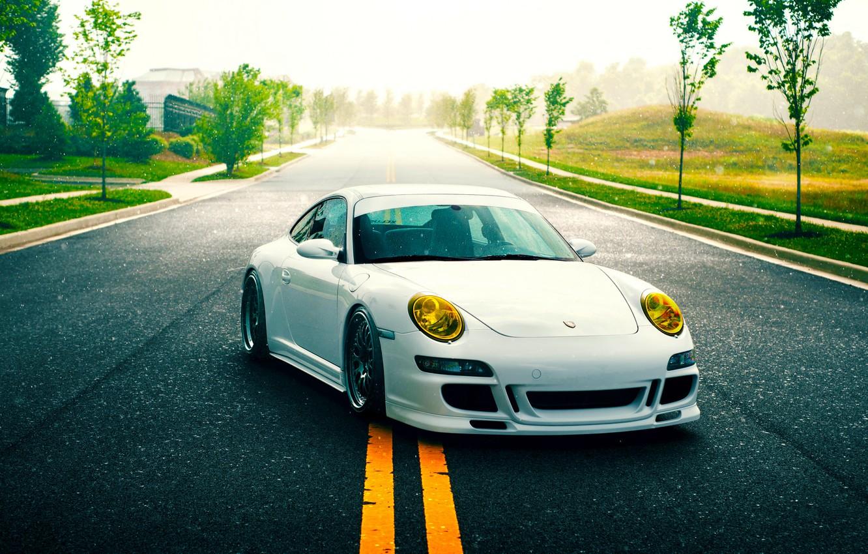 Photo wallpaper 911, Porsche, Nature, Green, GT3, White, Road, Supercar, Stancenation