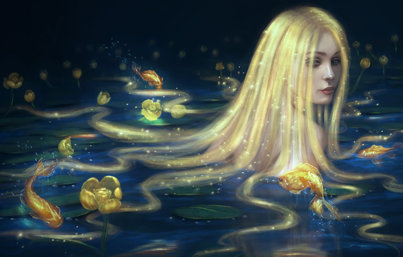 Photo wallpaper look, water, girl, fish, mermaid, art, long hair, gold