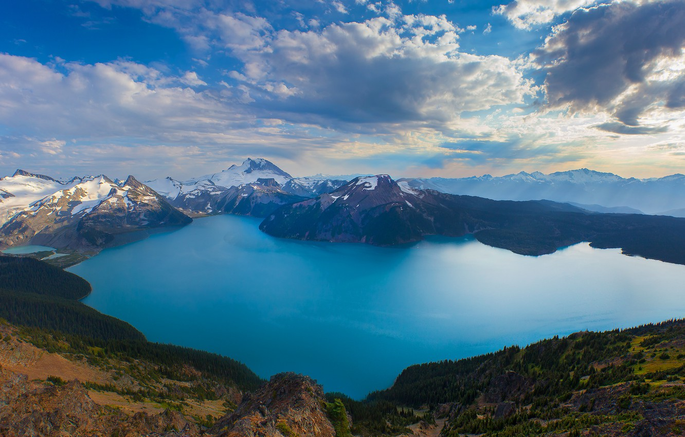 Photo wallpaper the sky, clouds, snow, mountains, lake, crater, Canada, British Columbia, Canada
