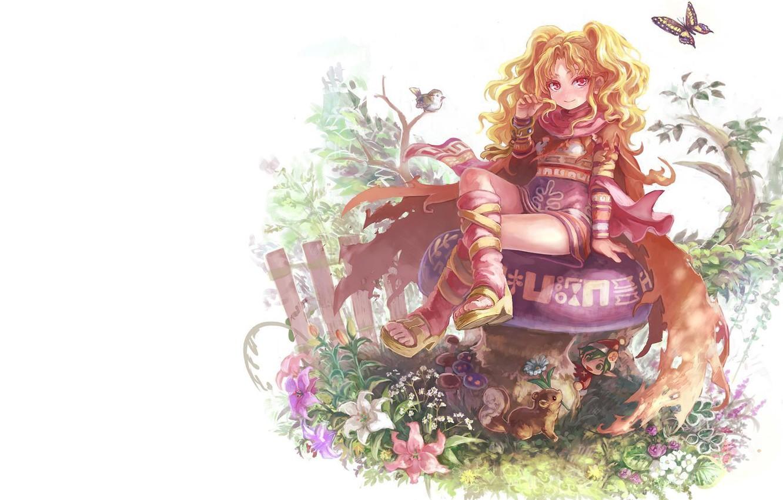 Photo wallpaper summer, girl, flowers, fantasy, magic, butterfly, elf, mushroom, the fence, anime, signs, bird, dwarf, animals, …