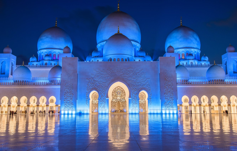Photo wallpaper backlight, mosque, Abu Dhabi, UAE, The Sheikh Zayed Grand mosque, Abu Dhabi, UAE, Sheikh Zayed …