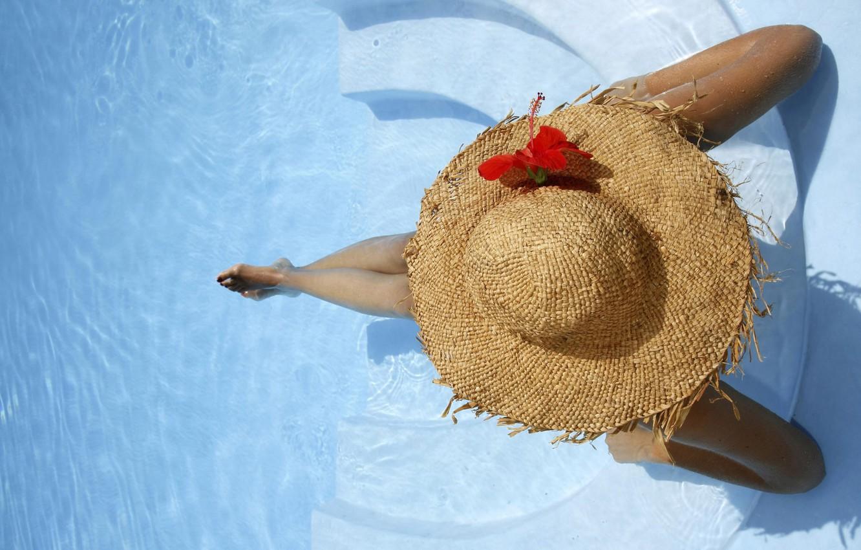 Photo wallpaper water, hat, pool