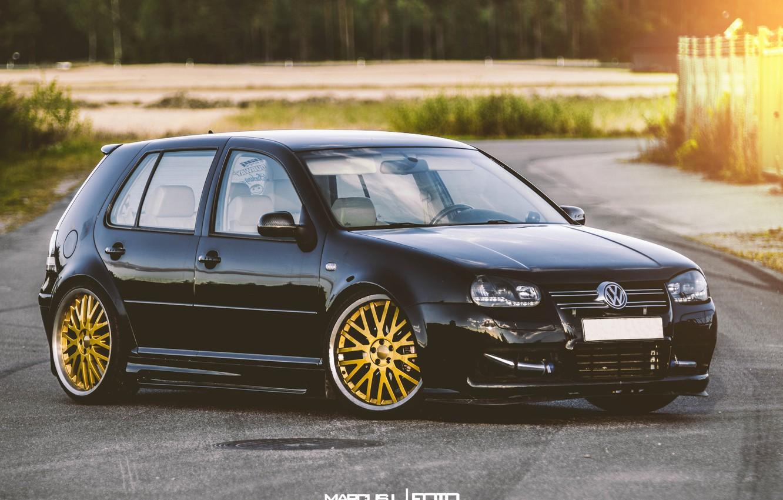 Photo wallpaper Volkswagen, gold, Golf, GTI, stance, Mk IV