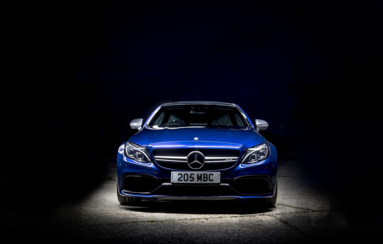 Photo wallpaper blue, background, Mercedes-Benz, Mercedes, AMG, Coupe, C-Class, C205