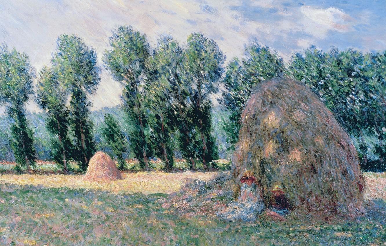 Photo wallpaper trees, landscape, picture, Claude Monet, Stack