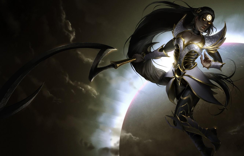 Photo wallpaper Moon, Night, Diana, Blade, League of Legend