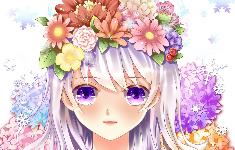 Photo wallpaper eyes, girl, flowers, face, smile, roses, anime, art, yuri
