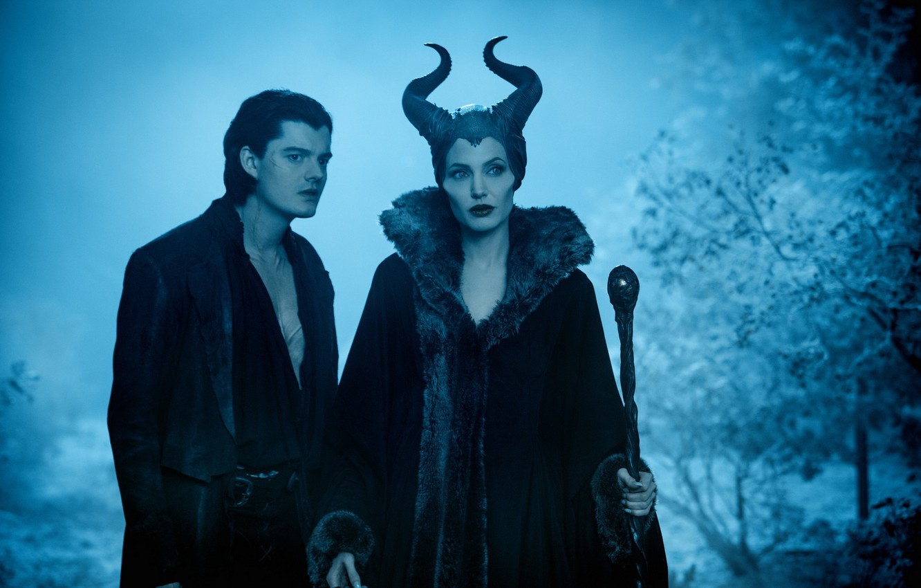 Photo wallpaper forest, night, the film, horns, staff, guy, witch, Maleficent