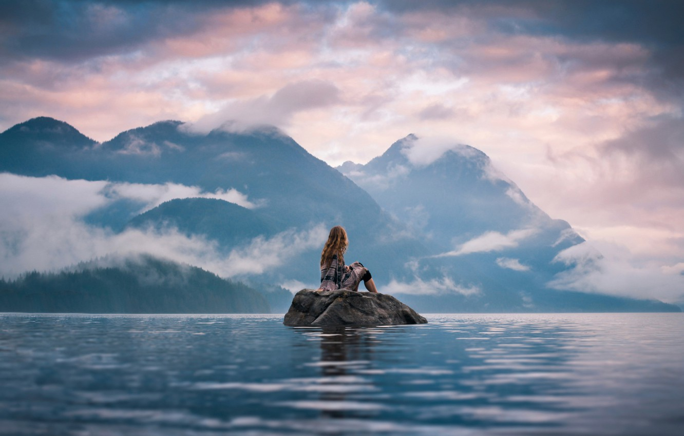 Photo wallpaper girl, landscape, mountains, stone, view, dal, island, Silent Moment, Lizzy Gadd
