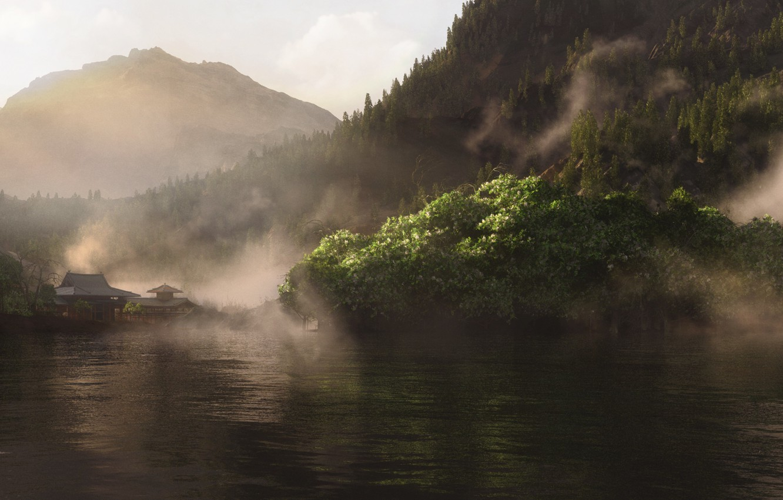 Photo wallpaper greens, landscape, lake, hills, Asia, home, render