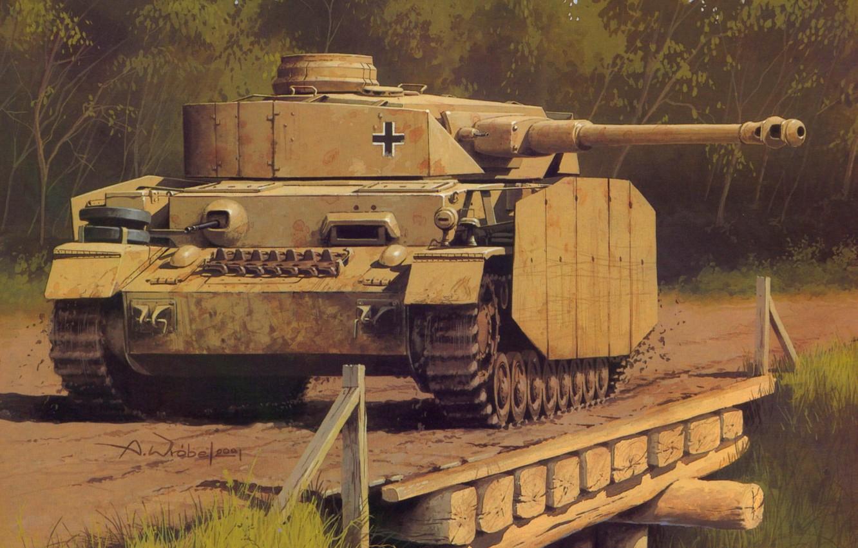 Photo wallpaper figure, the Germans, the Wehrmacht, Panzer 4, medium tank, Wrobel, PzKfw 4 Ausf H