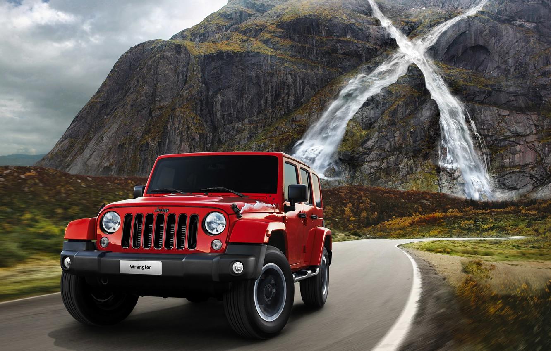 Photo wallpaper road, machine, mountains, waterfall, jeep, car, Jeep, 2015, Wrangler X