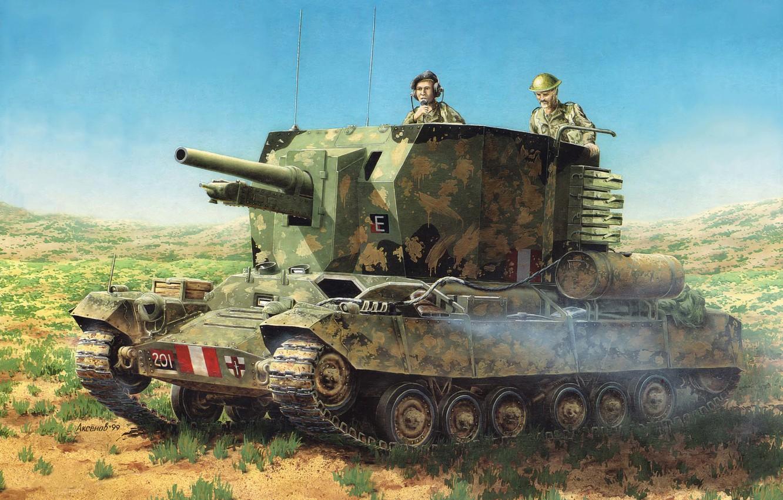 Photo wallpaper art, tank, installation, artillery, SAU, British, Valentine, Valentine, WW2., tank, database, times, self-propelled, howitzers, self-propelled, …