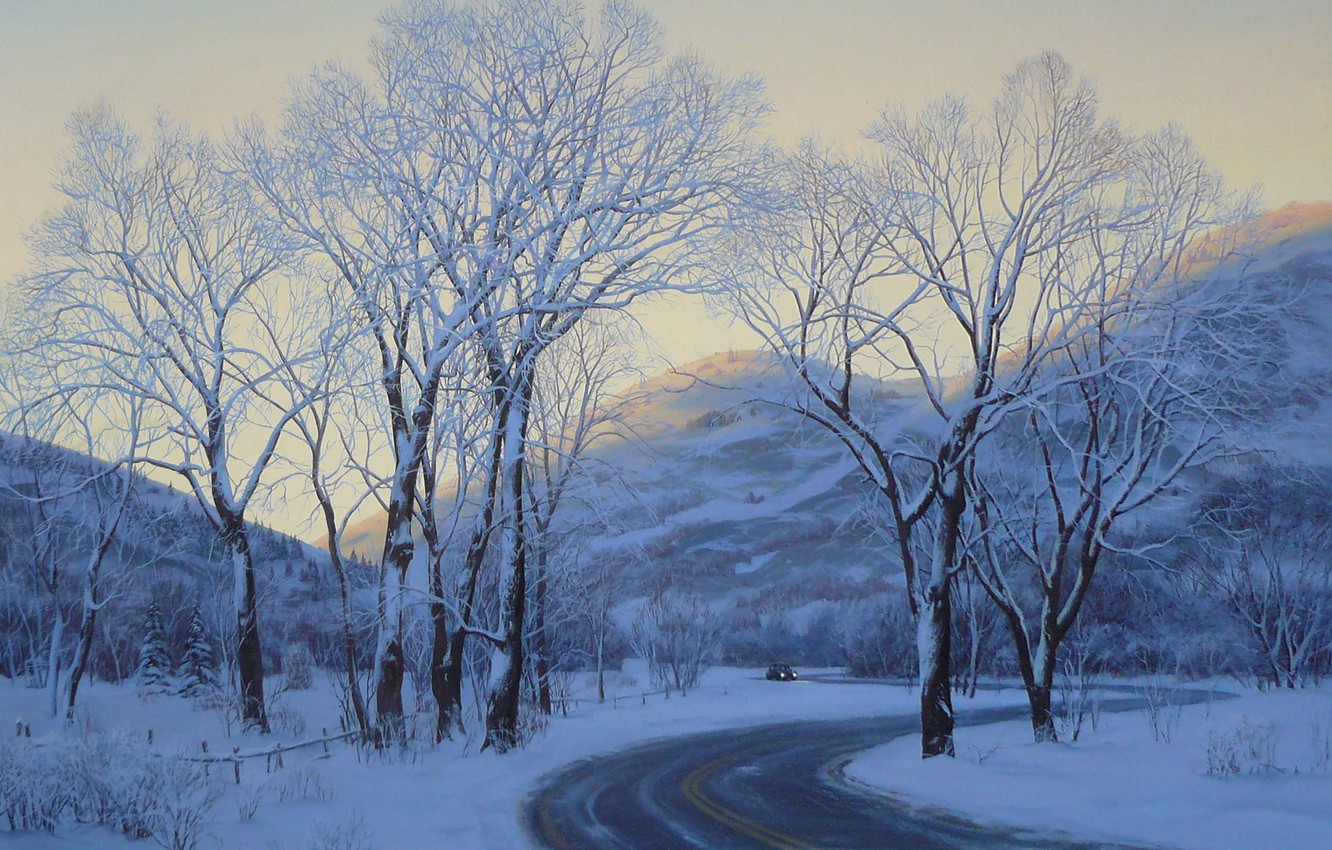 Photo wallpaper winter, road, car, machine, snow, landscape, mountains, the evening, painting, road, trees, art, winter, snow, …