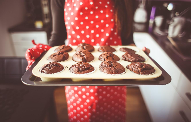 Photo wallpaper cakes, apron, cupcakes