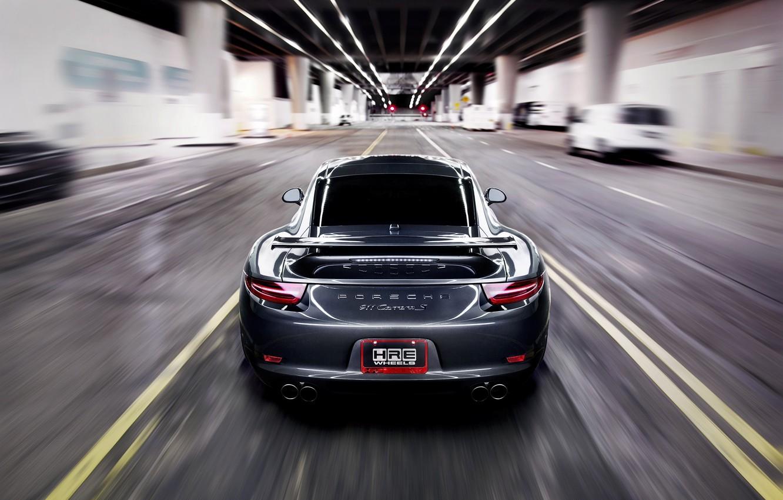 Photo wallpaper road, grey, speed, blur, 911, Porsche, Porsche, road, grey, speed, back, Carrera, Carrera S